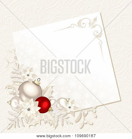 Christmas card with white and red decorations. Vector eps-10.