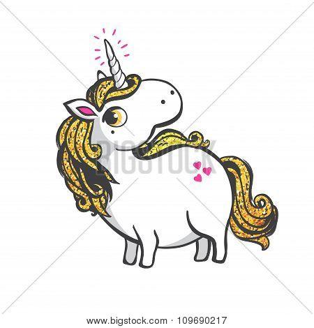 Gold Unicorn Illustration.