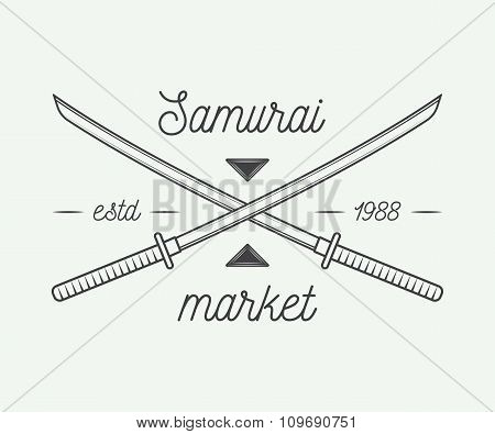 Vintage Samurai Market In Retro Style. Can Be Used For Logo, Emblem, Badge Or Label.