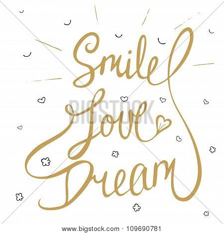 Smile, Love, Dream With Little Hearts, Clouds And Smile In Golden Color, Eps 10