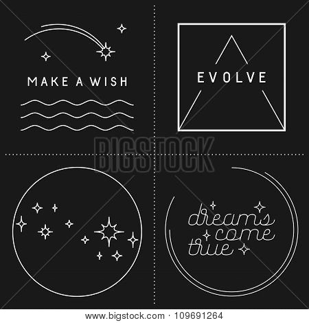 Set Of Inspirational Quote Designs In Linear Style