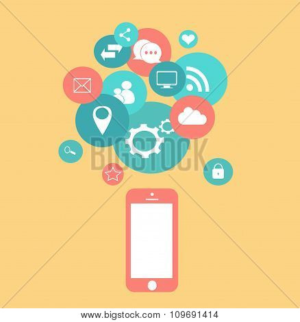 Flat mobile phone vector with social media icons yellow