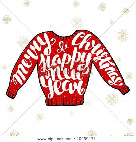 Merry Christmas And Happy New Year In Red Sweater On Vintage Background
