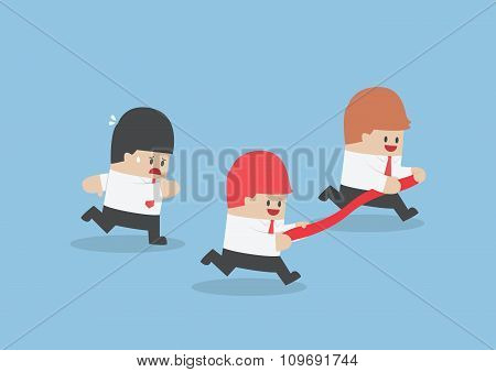 Businessman Hold Finish Line Away From His Rival