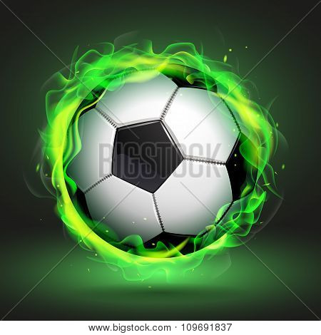 Soccer Ball In Green Flame