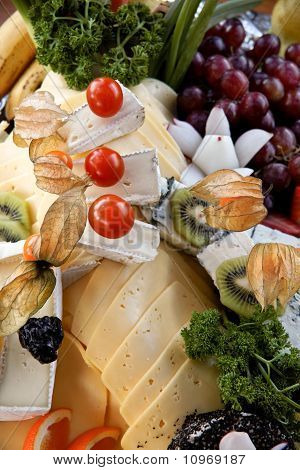 Cheese plate with a cold buffet