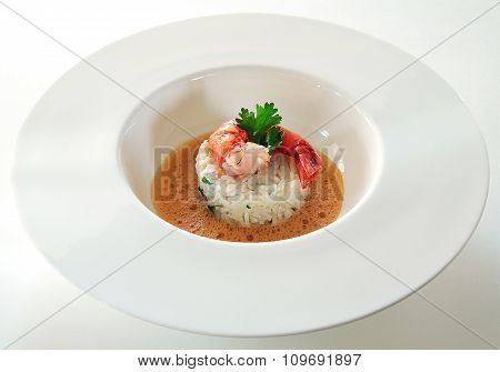 Basmati Rice And Shrimp With Gazpacho Soup