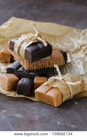 homemade dessert candy caramel and chocolate toffee