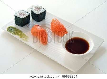 Sushi Wasabi Hosomaki Nigiri And Soy Sauce