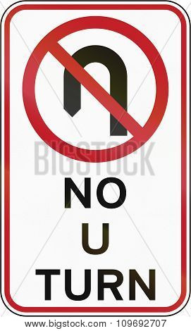 Road Sign In The Philippines - No U Turn