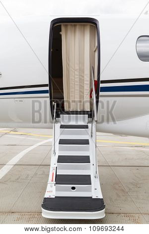 ladder in a private jet