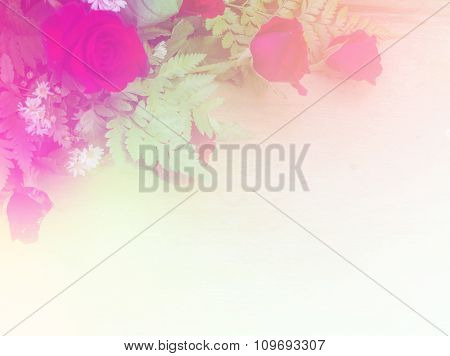 Abstract Blurry Of Rose Flower And Colorful Background. Beautiful Rose Flowers Made With Color Filte