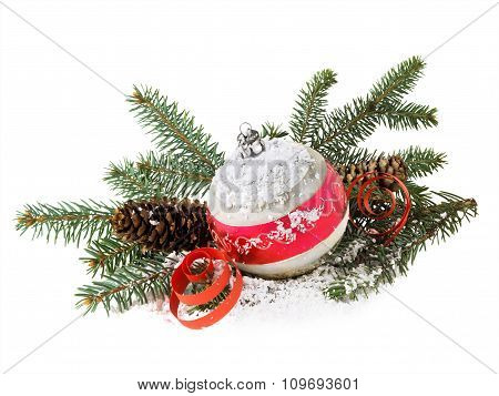 Christmas Decoration Of Ball And Cones On A White Background