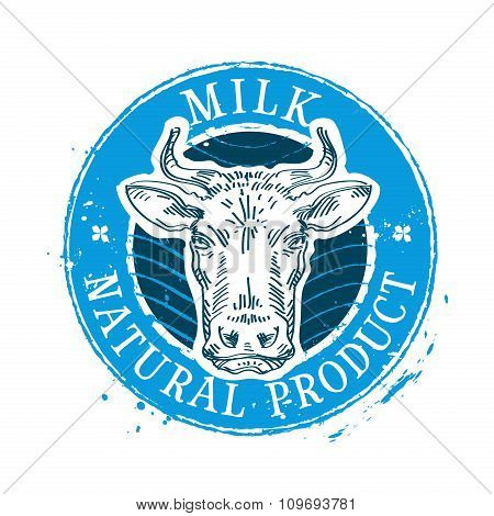 milk vector logo design template. cow or farm icon