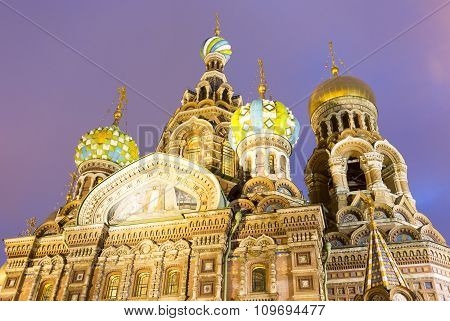Church Of Savior On The Spilled Blood At Night