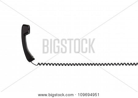 The black handset with a twisted wire, stretched horizontally