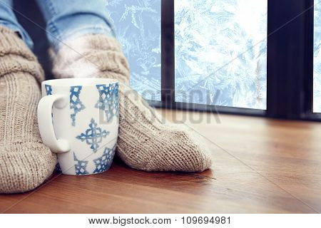 woman's feet, tea.