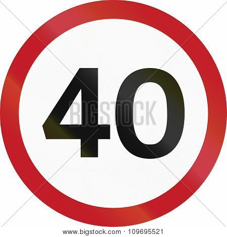 Road Sign In The Philippines - 40 Kph Speed Limit Sign In The Philippines