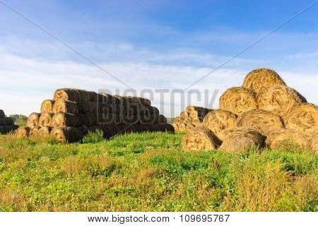 Haystack Of Straw After The Harvest