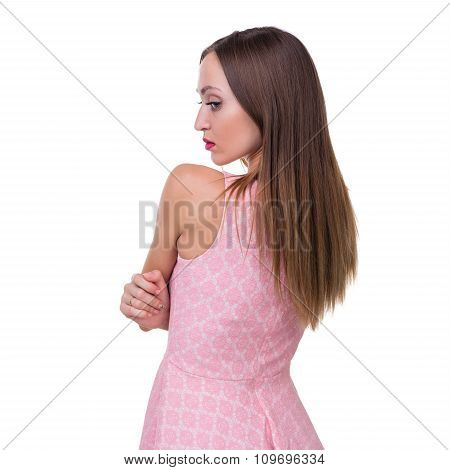 Profile side portrait of beautiful young woman, isolated over white