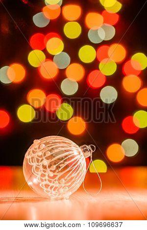 Christmas ball on table