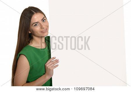 Beautiful woman and white signboard
