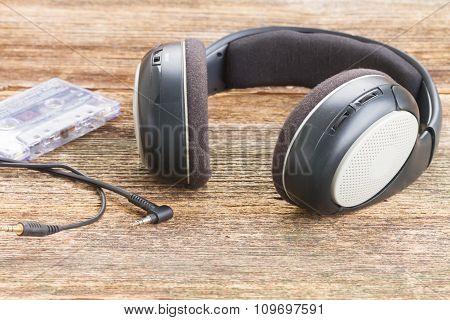 headphones on wood