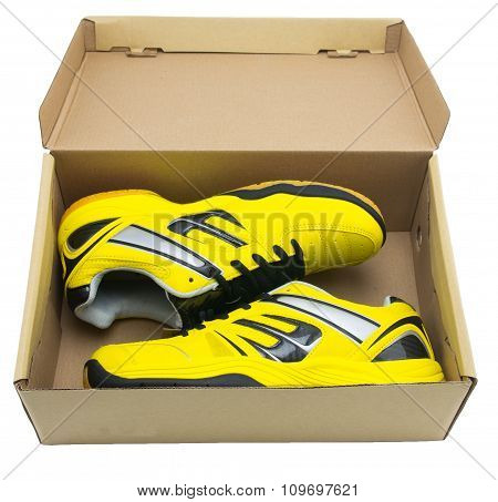 Yellow Sport Shoes On White Background