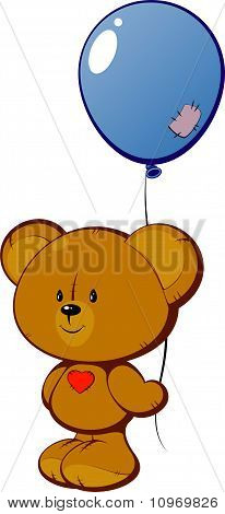 Teddy bear with red heart and balloon