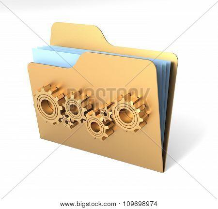 Metalic Folder With Steel Gears. 3D Rendering