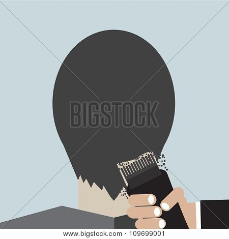 Hairdresser Using Hair Clipper.