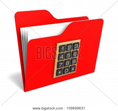 Red Folder With Security Button. 3D Rendering.
