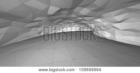 Illustration of a Geometric Line Art White Tunnel