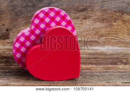 two red and  pink  hearts