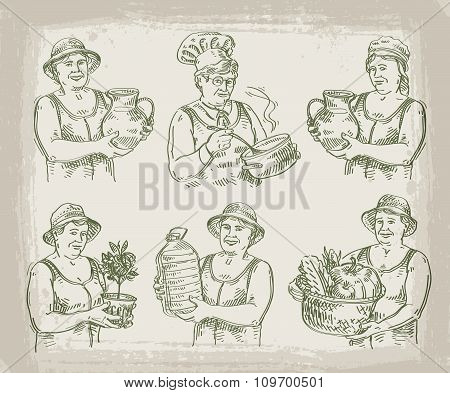 hand drawn sketch set of cook, chef, gardener and farmer. vector illustration