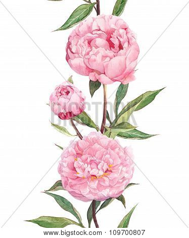 Peony pink flowers. Seamless floral border stripe. Watercolour