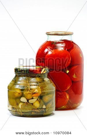 Canned Vegetables (cabbage) Isolated On White