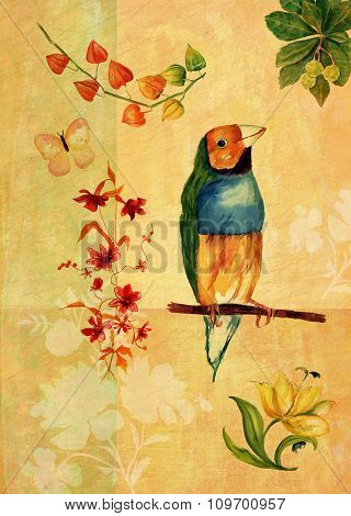 Vintage Collage With Watercolor Drawings Of Bird, Butterfly And Flowers