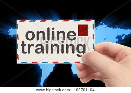 Hand Holding Envelope With Online Training Word And World Background