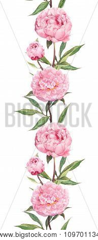 Pink flower - peony. Seamless floral border strip. Watercolor