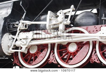 Detail Of Vintage Steam Engine Locomotive Wheels