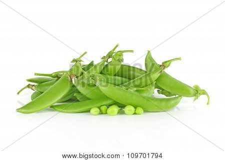 Fresh Sugar Snap Peas Isolated On A White Background