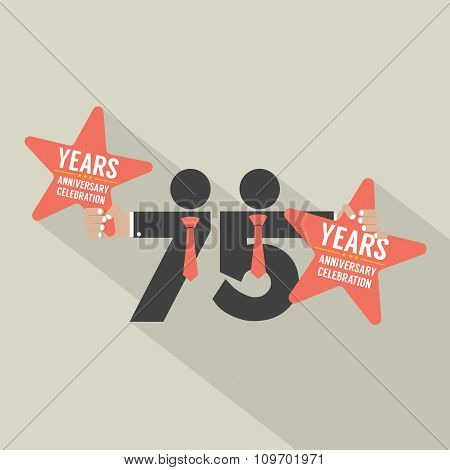 75 Years Anniversary Typography Design.
