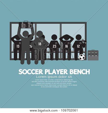 Football Or Soccer Player Bench Black Symbol.
