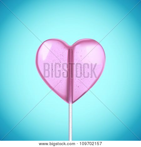 Vector realistic heart shaped hard candy on stick