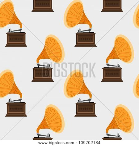 Seamless pattern with gramophones