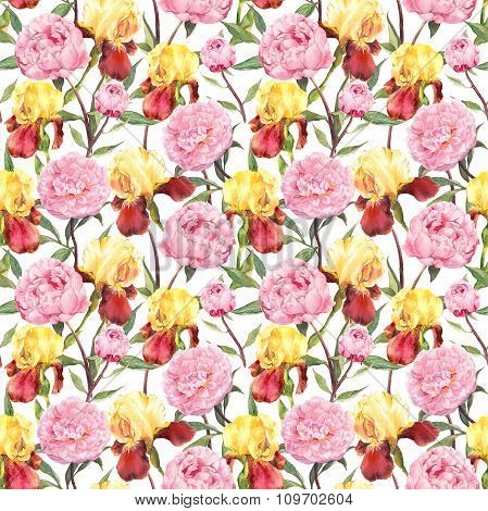 Peonies and iris flowers. Repeating floral pattern. Water color