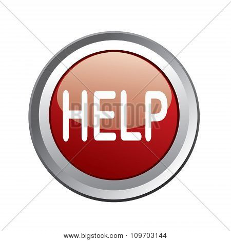 Help Button Isolated On White