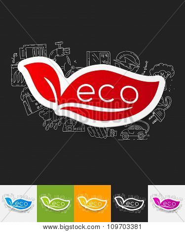 eco sign leaf paper sticker with hand drawn elements