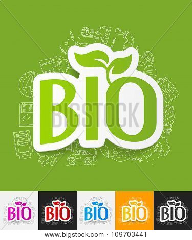 bio sign paper sticker with hand drawn elements
